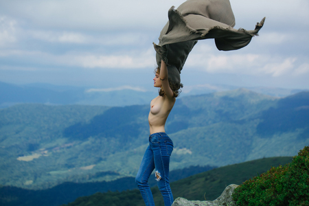 Images of topless babes hiking