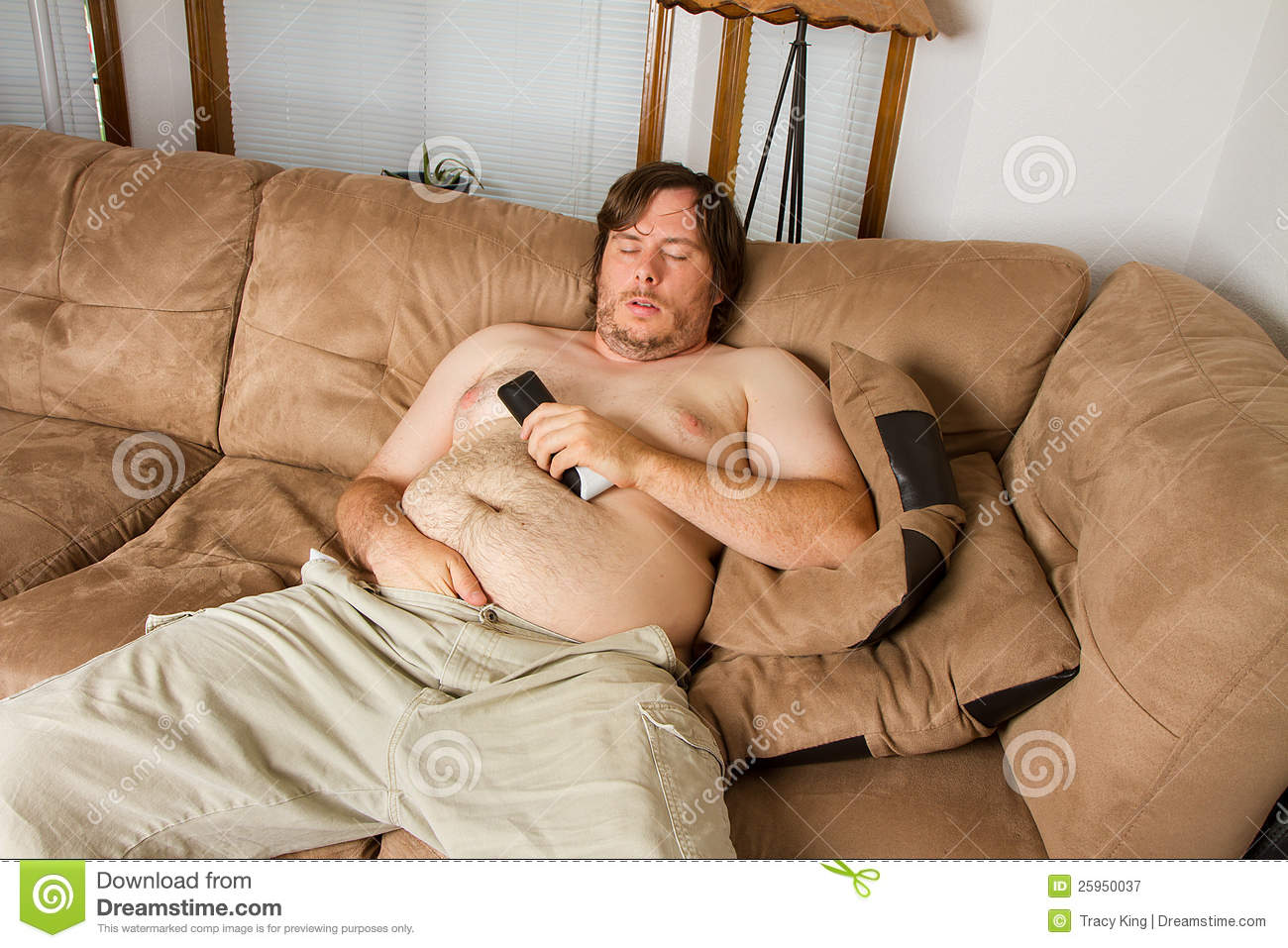 Fat wife naked on couch